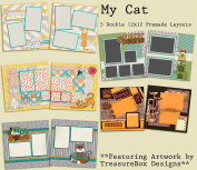 My Cat Scrapbook Kit - 5 Double Page Layouts