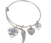 Memorial Jewellery, Memorial Bracelet, A Piece of My Heart is in Heaven Bangle Bracelet