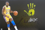 Magic Johnson Hand Print Stretched Canvas Dribble Left Yellow Signed Authen - JSA Certified - Autographed NBA Art