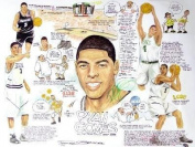 Ryan Gomes Autographed 18x24 Cartoon - Autographed NBA Art