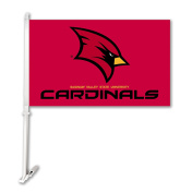NCAA Saginaw Valley Cardinals Car Flag with Wall Bracket, Red, One Size