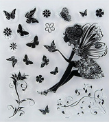 Skyseen DIY Clear Stamp Sheet,Angel and Butterfly Image