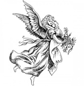 Flying Angel and Infant Stampington And Co Wooden Rubber Stamp