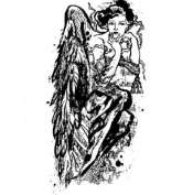 Winter Tapestry Entwined Angel Figure Stampington And Co Wooden Rubber Stamp