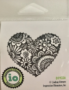 Impression Obsession IO Flowering Heart Cling Mounted Rubber Stamp D19336