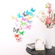 ZOMUSA Wall Stickers, Hot sell !! DIY 18pcs Decal Wall Stickers Home Decorations 3D Butterfly Rainbow House Decorated Background