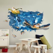 ZOMUSA Wall Stickers,3D Turtle Floor/Wall Sticker Removable Mural Decals Vinyl Living Room Decor House Decoration Background