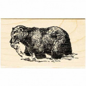 Fishing Bear Rubber Stamp