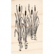 Cattails in Pond Rubber Stamp Scenic Stamp