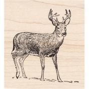 Buck in Snow Rubber Stamp Deer Wildlife