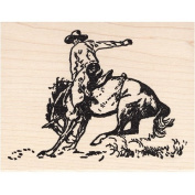 Bronco Rubber Stamp Wood Mount Cowboy on Horse