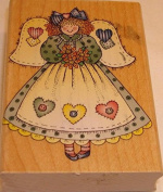 Hero Arts Heart Patch Angel #G1225 Wood Mounted Rubber Stamp