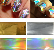 4pcs Gold/Silver Laser Rainbow Transfer Foils Glue Adhesive Sticker Wraps Nail Art Decorations DIY