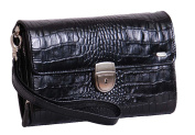 Mens Wrist Croc Print Leather Bag Clutch Grab Mobile Money Travel Purse HLG328 Black