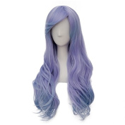 Fashion Purple Mixed Blue Long 65CM Wavy Lolita Lady Cosplay Wig Heat Resistant