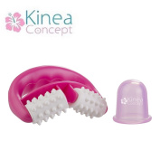 anti cellulite Pink set Kineaconcept - one cellulite massager roller and one anticellulite cup - Treatment against cellulite and orange peel skin -