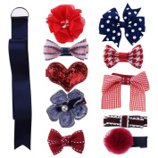 BlueMixc 10 Pcs Baby Girl Hair Bow Hair Clips With 1 Pcs Bow Holder for Baby Girl Toddler Newborns
