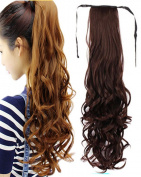 BarRan Thick Drawstring Ponytail Piece Clip in Long Pony Tail Curly Hair Extensions Tie up Wrap Around