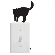 pu ran Removable DIY Black Cat Background Wall Sticker for Switch Socket Bedroom Decor Art Decal - H