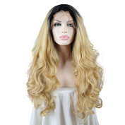 60cm Blonde Mix Black Long Curly Women's Party Lace Front Wig Heat Resistant