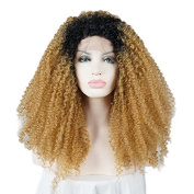 60cm Black Mixed Light Brown Long Spiral Curly Women's Party Lace Front Wig Heat Resistant