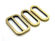 CRAFTMEmore 1SET Metal Purse Slider and Loops Set 1PC Slide Buckle with 2PCS Oval Rings Bag Accessories (3.2cm , Antique Brass