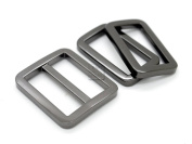 CRAFTMEmore 1SET Gunmetal Black FLAT Purse Slider and Loops 1PC Slide Buckle with 2PCS Rectangular Rings Leather Craft