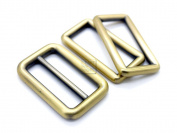 CRAFTMEmore 1SET Antique Brass Metal Purse Slider and Loops Set 1PC Slide Buckle with 2PCS Rectangular Rings Leather Craft