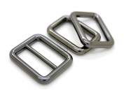 CRAFTMEmore 1Set Gunmetal Black Purse Slider and Loops Set 1PC Slide Buckle with 2PCS Rectangular Rings Leather Craft