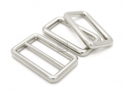 CRAFTMEmore 1Set Silver Metal Purse Slider and Loops Set 1PC Slide Buckle with 2PCS Rectangular Rings Leather Craft