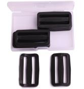 Shapenty 5.1cm Black Plastic Tri-glide Slides Button Adjustable Webbing Triglides Slider Buckle for Belt Backpack and Bags, 8PCS