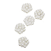 5 Pieces Faux Pearl Rhinestone Flower Embellishments Flatback Button with Hole