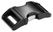 10 - 2.5cm Black Contoured Aluminium Side Release Buckles