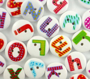 bangdan Assorted Wood Round English Letter Buttons Lot Craft/kids Sewing, 15mm 20pcs mixed