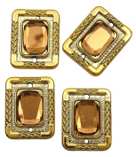 Rectangle Shape Button Embellishment DIY Sewing Accessory Set Of 4 Pieces