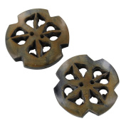 All Natural Devine Filigree Horn 2 Piece Button Set