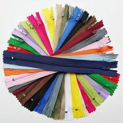 Chenkou Craft 40pcs More Than 20 Colours Nylon Coil Zippers Zipper Kit Tailer Sewing Tools Craft Total Length 9 Inche (zipper size 20cm ) Mix Assorted Bulk Lots