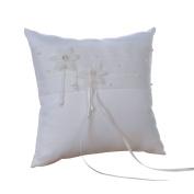 Remedios Ivory Pearl Organza Satin Wedding Ring Pillow Bearer Pillow