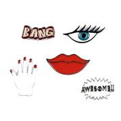 Souarts Womens Bang Eye Hand Lip Brooch Pin Enamel Badge for Clothes Bags Backpacks Lapel Pin Set