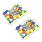 BESTCYC 200pcs 5cm Mixed Colourful Flower Head Pins Boxed for Sewing Crafts