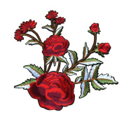 Partyfareast Large Size 5PCS Embroidered Fabric Patches Red Flower Iron on Patch Set