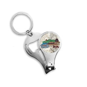 Hand-painted Tian An Men Bird Nest Beijing Cultural Elements Metal Key Chain Ring Multi-function Nail Clippers Bottle Opener Car Keychain Best Charm Gift