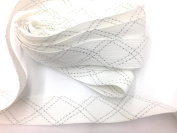Designer FOLDOVER BRAID - Woven Ribbon - Trim , White with Silver Lurex - For Clothing , Pillows, Drapes 5 Yds FO-103F