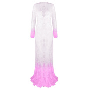 QIYUSHOW Maternity Dress See-through V-Neck Lace Maxi Dress with Long Sleeves
