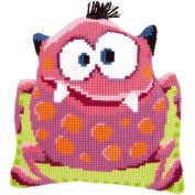 "Pink Monster I Shaped Cushion Cross Stitch Kit-41cm ""X16"""""