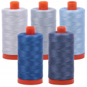 Bundle of (5) 1422 Yard Spools Aurifil 50 wt Quilter's Thread Piecing Colours