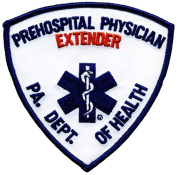 PA DEPT OF HEALTH PREHOSPITAL PHYSICIAN EXTENDER Patch, (IRON-ON) 3-3/4 x 7.6cm - 1.9cm EMT Star of Life Shoulder Patch PA. DEPT. OF HEALTH Pennsylvania Department of Health - Logo - Sold by Uniform World