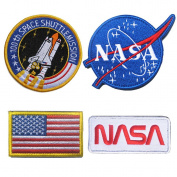 WZT 4 Pcs Tactical Flag Patch - Combination USA NASA Patch Embroidered Morale WZT Lot Military Embroidered Patche Hook and loop Patches