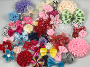 YAKA 50Pcs Mix Bulk Flowers Bows Craft DIY Project Kits for Hair Accessories (Headbands,Hair Clips,Hair Bows), Birthday Party Wedding Decorations