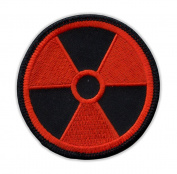 Motorcycle Jacket Embroidered Patch - Radioactive Nuclear Symbol (Orange, Black) - Vest, Cut, Leathers - 7.6cm Round